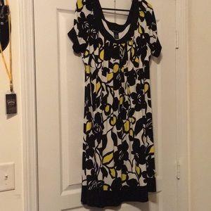 Black, Yellow, and White Empire Waist dress